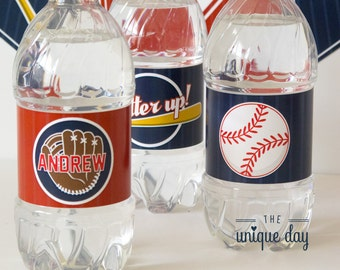 Printable Water bottle labels - Baseball birthday party- Baseball - Can Be Made to Match ANY Theme in My Shop - Personalized // BAS-08