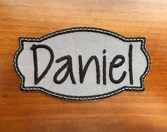 "Iron-on Name Patch Applique, GRAY/Navy 3.75"", 4.75"" OR 6.75"" ***Ready to Ship in 1-2 Days!"