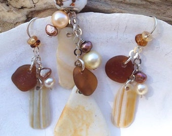 Sea Pottery, Sea Shells  and Brown Sea Glass Necklace and Earring Set