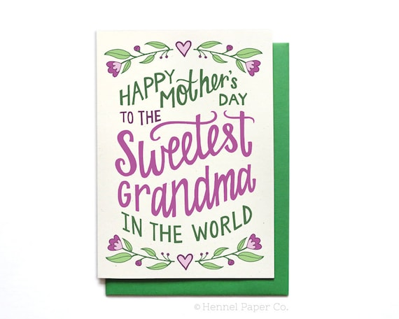 grandma mothers day card floral sweetest grandma in the. Black Bedroom Furniture Sets. Home Design Ideas