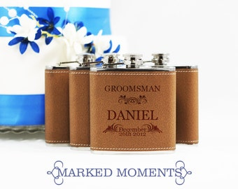 1 Flask - Groomsman Best Man Gift, 1 Single Leather Engraved Flask 6oz for Groom, Best Man, Father of the Bride Hip Flask - FOLIAGE design