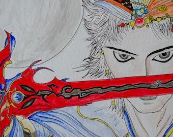 Final Fantasy - Original drawing, watercolor, china ink and pencil