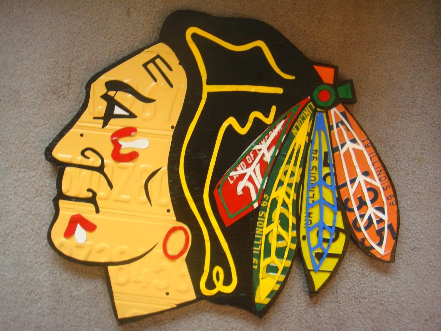 CHICAGO BLACKHAWKS LOGO Sign One Of A Kind Piece