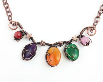 copper wire wrapped necklace with jade stones / code: N1020