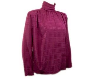 1980s Christain Dior Paris New York Chemise Womens Fuchsia Pink Polyester Draped High Collar Neck Vintage Dress Secretay Blouse Shirt
