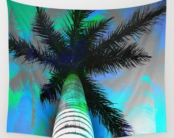 Palm tree tapestry, tropical island posterize print, fijian vibe wall art, tropical filtered sun shade, island home decor, psychedelic palms