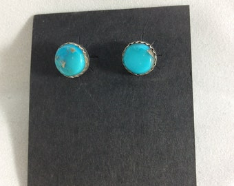 Genuine #8 turquoise and Sterling silver post earrings.