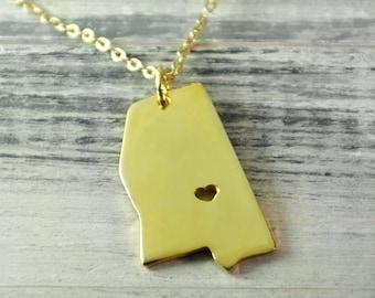 I  heart  Mississippi Necklace Mississippi pendant 18K gold plated state necklace state pendant map pendant  hammered state necklace