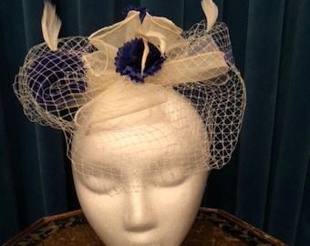 White and Navy Blue Fascinator