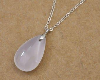 silver rain drop necklace, RAINING DAY, teardrop necklace, rain drop, clear water, white agate raindrop necklace