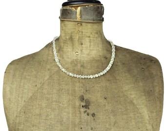 Crystal Necklace, Aurora Borealis Necklace, Crystal Bead Necklace, Aurora Borealis Glass Bead Necklace, Clear Bead Necklace