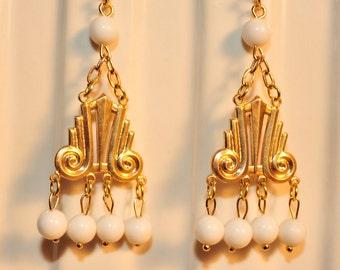 Handmade Vintage Brass Art Deco Earrings