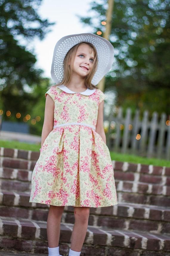 Girls Pink and Yellow Floral Dress - Girls Dress with Peter Pan Collar - Easter Dress - Sunday Dress