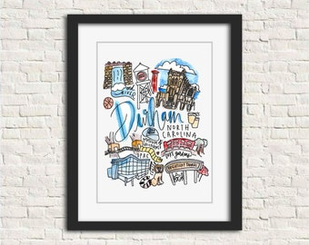 Durham, North Carolina Handlettered Watercolor 8x10 in Wall Art Print Gift