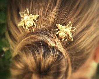 Bee Hair Pin Gold Bumble Bee Bobby Pins Brass Hair Pins Bee Hair Clips