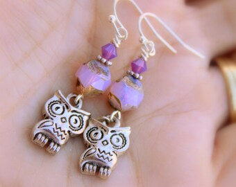 Dainty Pink Boho Owl Earring Dangles with Swarovski Crystals, Pink Opal Czech Glass Nugget Beads & Antiqued Silver Owl Charms, Bohemian Chic