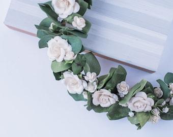 Adult  Ivory Flower crown, eucalyptus, white roses crown, Floral crown,Wedding flower crown,Flower girl crown,Bridal flower crown,