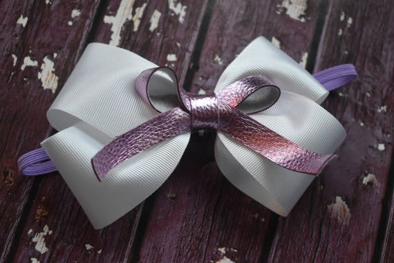 White and lilac layered bow - Baby / Toddler / Girls / Kids Elastic Hairclip / Hair Barrette / Hairband / Headband / holiday gift