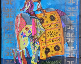 "Elephant Ride - 20"" x 24"" Original Painting - Mixed Media on Canvas"