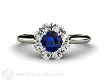 14K Blue Sapphire Engagement Ring Sapphire Diamond Halo Cluster Custom Sapphire Ring September Birthstone