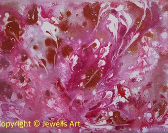 Strawberry Cream, Pink, White and Bronze Original Abstract Acrylic Painting on Canvas, Wall Art, Abstract Painting, Art & Collectibiles