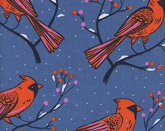 Pre-order: Winter Cardinals in Blue by Sarah Watts from the Frost collection for Cotton and Steel #C5185-01 by 1/2 yard