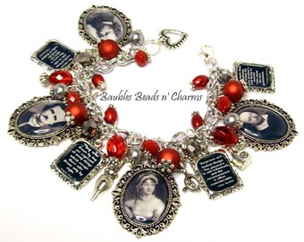 Your Favorite Writers Quotes Literary Charm Bracelet, Personalized Authors Charm Bracelet, Custom Literary Charm Bracelet