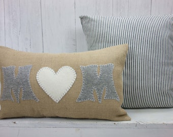 Mothers Day Gift, Farmhouse Pillow, Gift for mom, Pillow for mom, Burlap Pillow, Pillow cover, Ticking Stripe, Handmade
