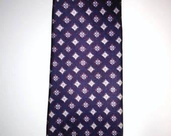 BIG HOLIDAY SALE-80s Vintage Lilly Dache Mens Necktie-Navy Silk Foulard-Collector-Gift-Hipster-Dandy-Resort-Power Statement Tie