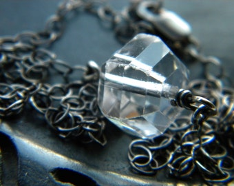 Upcycled vintage clear cut crystal gemstone necklace - sterling silver handmade jewelry - Winter Accessories