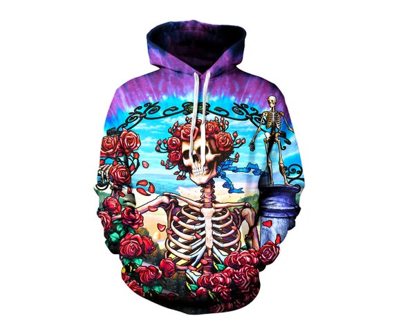 Grateful Dead Hoodie - Trippy Greatful Dead Bertha Hoodies - 60's Hippie Festival Clothes - Art Hoody - Sublimation Sweatshirt vy8WGE