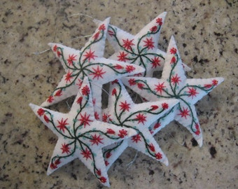 Felt Embroidered Five Pointed Star Christmas Ornament