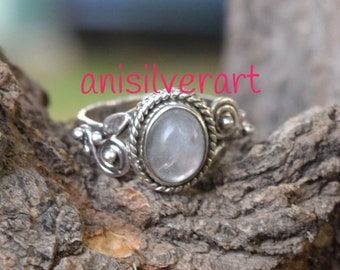 Moonstone Ring, Rainbow Ring, MoonStone Silver Ring, Gypsy Ring, Solitaire Rings, Solid 925 Sterling Silver Rings,