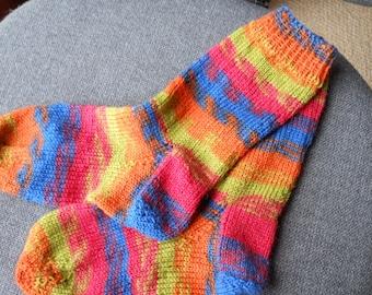 children' s hand knitted socks,/  knitted socks ,/ handmade children' socks/mult coloured socks,green child's socks, blue socks