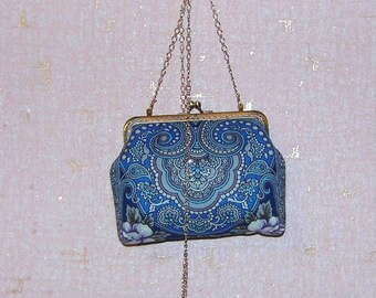 Metal frame handbag, blue handbag clutch, fabric handbag, oriental style handbag, kiss lock clutch