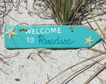 Wood welcome sign Beach decor Front door sign Coastal wall decor Beach theme Welcome to Paradise wooden sign Patio sign