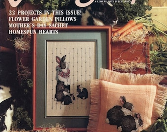 CROSS STITCH MAGAZINE; For the Love of Cross Stitch; bunnies, borders, samplers, In the Garden, Mother's day sachet. vintage 1991