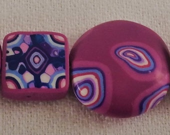 Magenta bulls-eye beaded bracelet, polymer clay