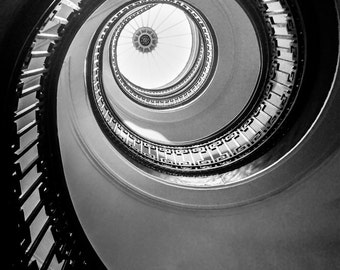 "Architecture Photography - black and white spiral staircase 16x24 stairs 24x36 san francisco 8x12 large wall art 20x30 ""Floating Up to You"""
