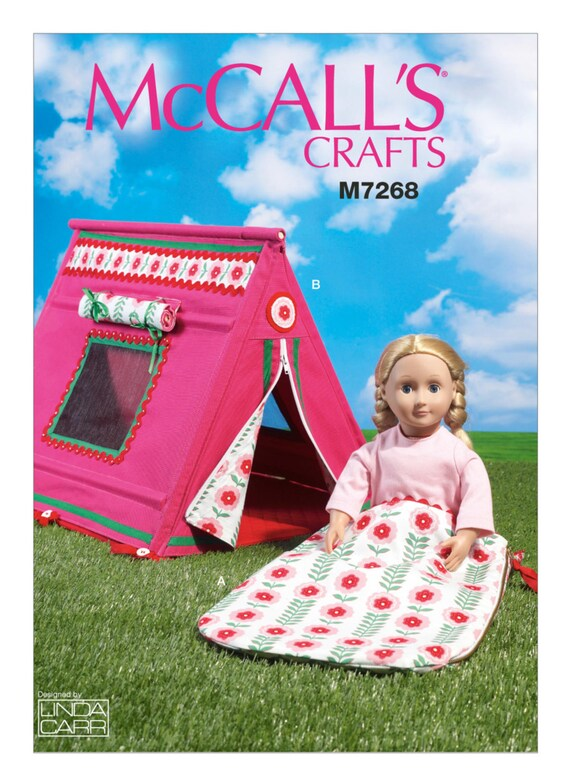 Sewing Pattern for 18 Inch Doll Tent & Sleeping Bag for