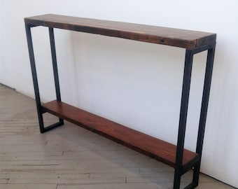 Lovely Reclaimed Wood Console Table   Lentini Design   Slim Handmade Entryway Table  With Shelf