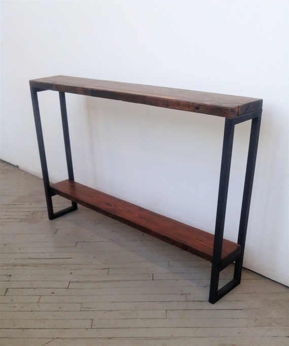 Reclaimed Wood Console Table Lentini Design Slim Handmade