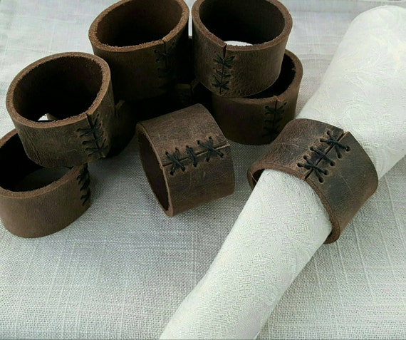 Set of Four Fawn Brown Leather Napkin Rings - Casual Dining- alfresco ~ Hostess Gift - Housewarming Gift - Home Decor- Kitchen Accessories
