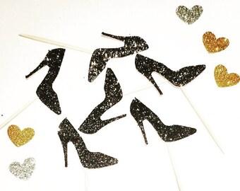 24 cupcake toppers, shoe cupcake topper,stiletto, Bridal Shower Decor,bachelorette decor,wedding decor,party decor,birthday decor,shoe decor