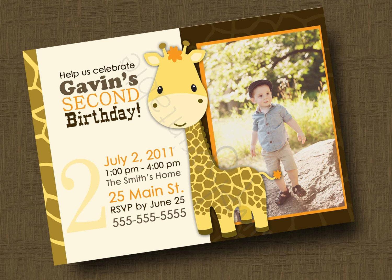 Giraffe Birthday Invitation for Boys or Girls Printable