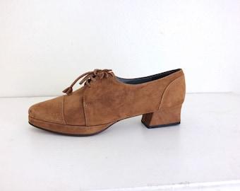 Vintage Brown Suede Platform Oxfords 1960s 1970s Style 6.5