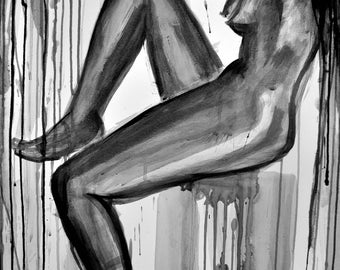 Watercolor erotic nude ink painting, Sorrow, Nude Woman in Profile, ORIGINAL ink wash painting, Sumi-e, Wall art, Home decor, Alex Solodov