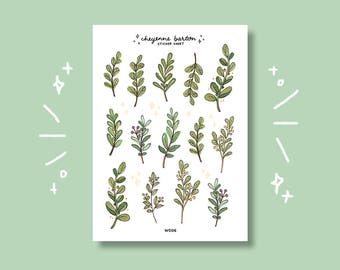 cute leaf/greenery stickers — for journals, notes, decoration + made from 100% PCW! (W006)