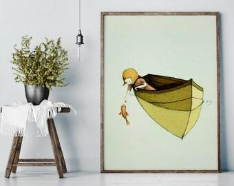 Childrens - Illustration- Wall Art Print -Sofi and the fish,  BIG PRINT 18 x 24 inches