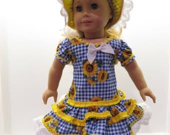 American Girl Doll Dress in Yellow Sunflowers